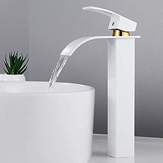 Grifo cascada lavabo armario cocina caño alto grifo monomando cuadrado cromado agujero simple palanca moderna para sala baño agua fría Lava mano, blanco