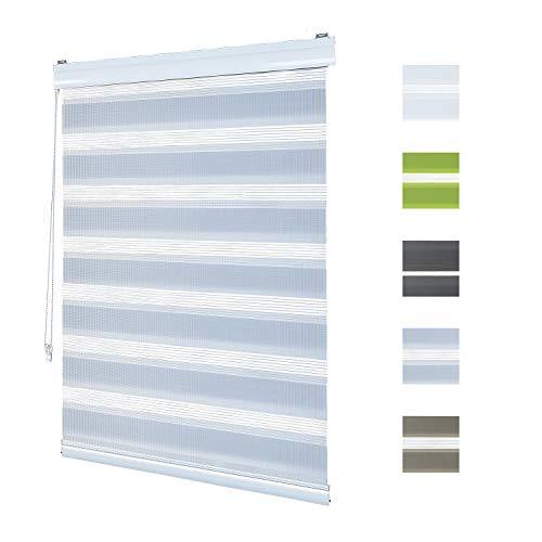 Doppelrollo Klemmfix Ohne Bohren,120cm x 150cm Aluminium Doppelrollo Duo Rollo Klemmrollo Sonnenschutzrollo mit Klemmträgern für Fenster und Türen - Grau