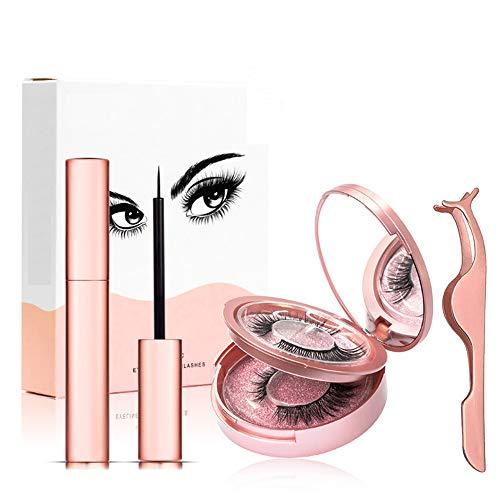 Magnetischer Eyeliner Magnetic Eyelashes Kit,Wasserdichter Langlebiger Magnetic Eyeliner mit 5 Magnetes Wimpern,2 Paare 3D Magnetische Wimpern mit Magnetic Eyeliner und Pinzette Natürliches Aussehen