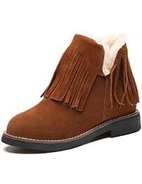 SHAOYE Mujer Zapatos PU Invierno Botas de nieve Botas Tacón Plano Dedo redondo Botines/Hasta el Tobillo Borla(...