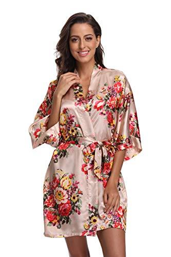 CostumeDeals Damen kimonodeals dept satin short floral kimono robe für hochzeit Champagne Medium Kimono-shorts