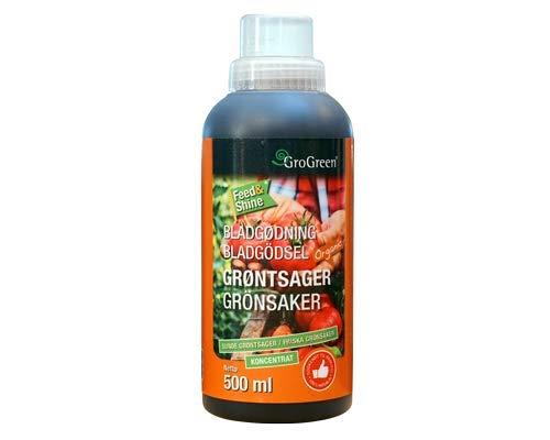 GroGreen Feed & Shine Gemüse (Konzentrat) 500 ml für 25 l Natürlichen Biologischen Flüssigdünger für Gemüse und Kräuter im Gewächshaus Gemüsegarten und Freiland