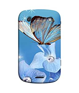 FUSON Designer Back Case Cover for BlackBerry Bold Touch 9900 :: BlackBerry Dakota :: BlackBerry Magnum (In Center Glitter Diamonds Flowers Butterfly Nature)