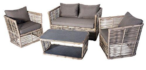 Salon de jardin de 4 pièces en aluminium / résine tressé coloris gris foncé / beige -PEGANE-