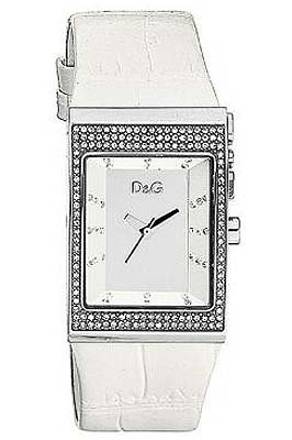 Dolce & Gabbana DW0155 Women's Analog Quartz Watch with White Leather Strap