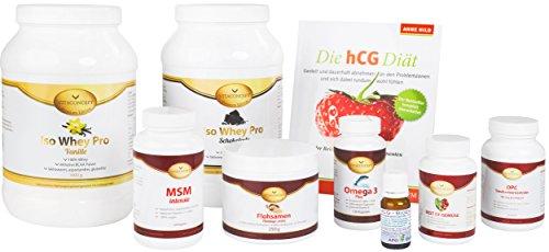 HCG-Diät * 21 Tage Stoffwechselkur * inklusive HCG BioEnerg Globuli ,Buch (Die hCG-Diät) und Whey-Protein ( VANILLE ) und Darmsanierung von VITACONCEPT *30 Tage Komplettpaket *