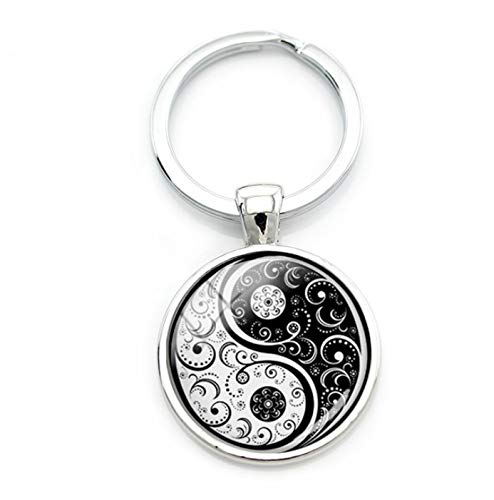 Fancychain Schlüsselanhänger Edelstahl Yin und Yang Buddha Buddhismus Retro Gegensätze
