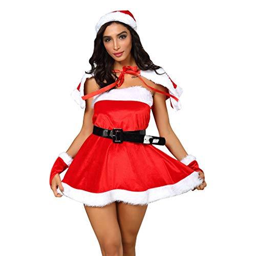 Weihnachtenkleid Damen Elegant Abendkleid Frauen Weihnachtsfest V-Ausschnitt Ärmel Kapuzenkleid Weihnachten Kleid Karneval Kostüme Mit Gürtel + Hut + Umhang + Handschuhe Rot Set