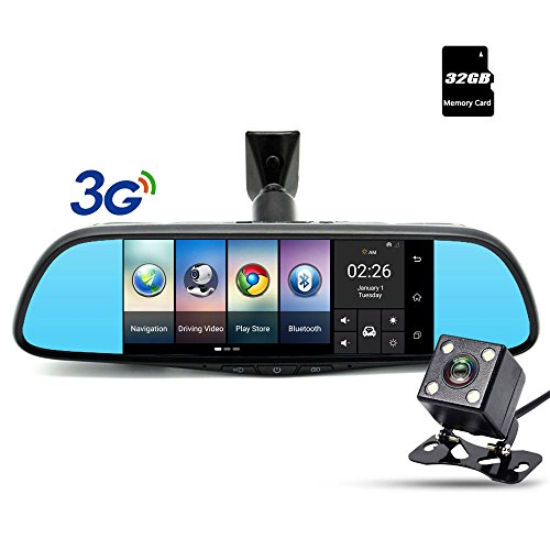 Dash Cam - Junsun 160° Car DVR Camera Dual-lens 7 Touch Android GPS Navigation Rear View Mirror with Rearview Camera WiFi Bluetooth G-sensor Night Vision 3G