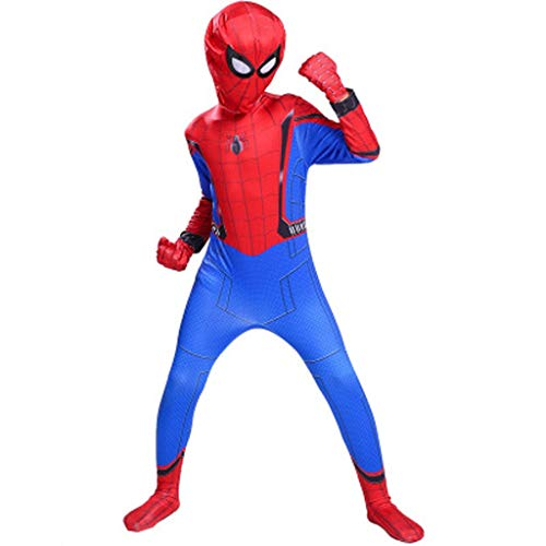 (YUNMO Spider-Man Kostüm Red Spiderman Kostüm - Unisex Second Skin Kleidung Outfit Halloween (größe : 110))