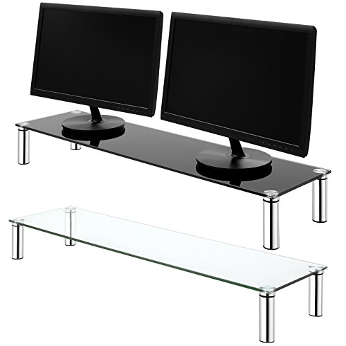 hartleys-x-large-100cm-glass-monitor-riser-stand-with-chrome-legs-choice-of-height-colour