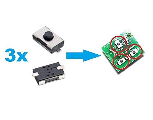 3x Microtaster / Taster / Mikroschalter für Fernbedienung Autoschlüssel - passend für: Vectra C + Signum + Vectra B + Omega B ...
