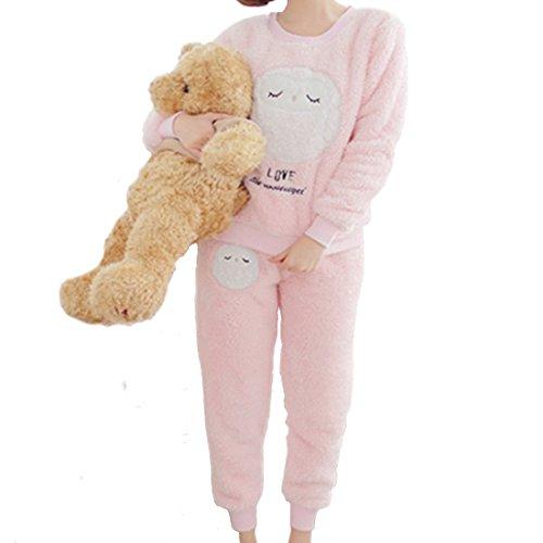 GWELL Damen Pyjama Eule Motiv Schlafanzug Set Flanell Zweiteiliger Langarm Nachtwäsche Winter rosa XL