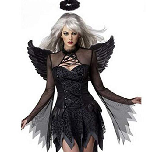 QIONGQIONG Halloween Dark Angel Kleid Kostüme Uniform Spiel Zombie Kleid Weibliche Geist Braut Teufel Pack Weiß/Schwarz,Black