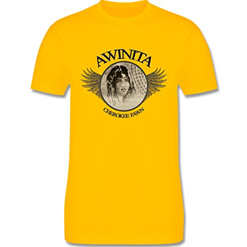 Vintage - Awinita - Cherokee Mädchen - Herren Premium T-Shirt Gelb