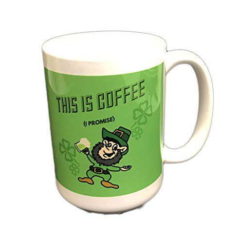 This is Coffee I Promise Comical Leprechaun Drinking Green Beer Novelty St. Patrick's Day 16 oz Coffee Tea Drink Gift Mug