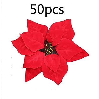 6SHINE Flores Artificiales Flor de Pascua roja, Flor Artificial Adornos de Guirnalda de árboles de Navidad para decoración de Bodas de Fiesta en casa decoración de Navidad 50 Piezas
