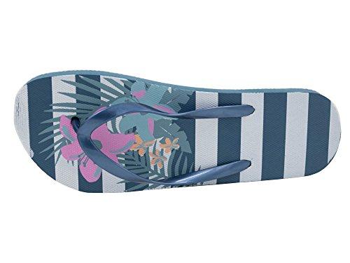 Donne Sabbia Rocks Righe con fiore Stampa, Estate Infradito Blu Navy Kaki Navy
