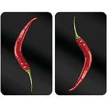 WENKO 2521380100 Cubierta de cocina Universal Hot Peperoni  - juego de 2 piezas para todos los tipos de cocinas, Vidrio endurecido, 30 x 1.8-4.5 x 52 cm, Multicolor