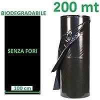 AGRIPLAST S.R.L. Telo PACCIAMANTE BIODEGRADABILE 200 MT X 1 MT Non Forato PACCIAMATURA BIO COMPOSTABILE