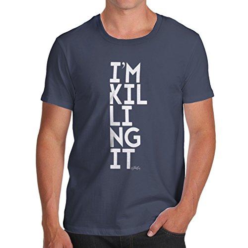 TWISTED ENVY Herren T-Shirt I'm Killing It Print Marineblau