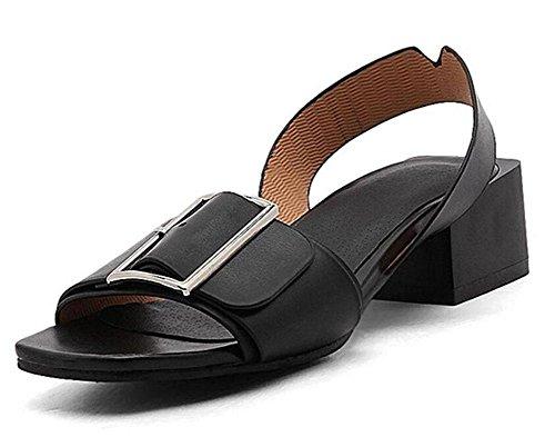 SHINIK Frauen Peep Toe Pumps Slingback Sandalen Fashion Square Wölbung Flat Heel Persönlichkeit Sandalen 40-45 Black