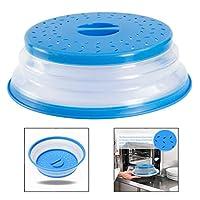 Xrten Plastic Microwave Hood Plate Cover Collapsible, Collapsible Food Splatter Guard Colander Strainer for Fruits, Vegetable -Blue