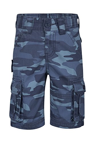 3 4 Hose (Mountain Warehouse Camo Kinder-Cargoshorts Blau 104 (3-4 Jahre))