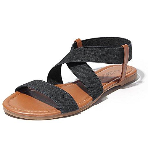 Sandalup Women's Elastic Sandal Black Size 05
