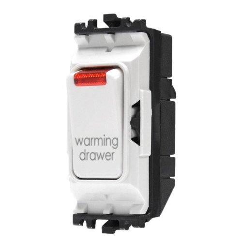 MK elettrico Grid Plus 20AMP 1way DP Warming Drawer Mark bianco modulo interruttore con indicatore neon