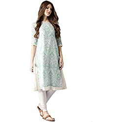 Amayra Women Blue & Green Printed Layered A-Line Kurti(X-Large,Multicolor)