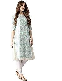 Amayra Women Cotton A-Line Kurti (Blue & Green)