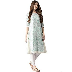 Amayra Women's Cotton A-Line Kurti (Blue & Green)