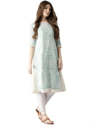 Amayra Women Blue & Green Printed Layered A-Line Kurti(X-Small,Multicolor)
