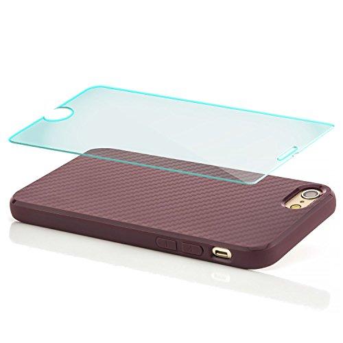 Coque Hülle + Panzerglas iPhone 6 / iPhone 6S Case Silicone Cover Carbon Design Housse en TPU Mince Protecteur Bumper et pare-chocs Protection pour modèle 4.7 pouces - Marron Lilas