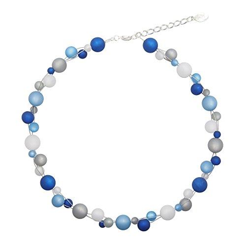 perla pd design Halskette aus echten Polarisperlen ca. 45 cm + 4.5 cm PK1222 blau grau weiß (Rot Halskette Und Blau)