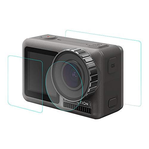 Huhu833 Gehärtetes Glas Film für DJI OSMO 9H Hartglasfolie Schutzfolie Dual Screen Protector Film + Kameraobjektiv gehärteter Film für DJI OSMO Action 4K Kamera (klar) Dual Protector