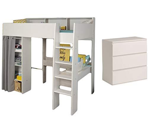 Jugendmöbel24.de Hochbett weiß/grau inklusive Schreibtisch Kleiderschrank Regalfächer Kommode Kinderzimmer Multifunktionsbett Spielbett