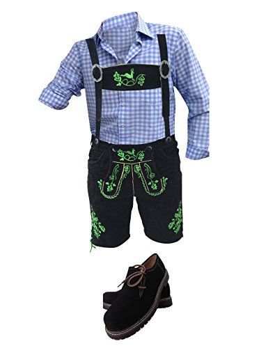Trachten Anzug Plattler Lederhosen+Trachtenhemden+Kniestrümpfe+Haferl Schuhe+Träger Echt Leder Schwarz Herren (52)