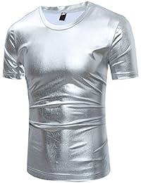 ZhiYuanAN Hommes Classique Grande Taille T-shirt Populaire T-shirt à Manches Courtes Couleur Unie Casual D'été Shirt