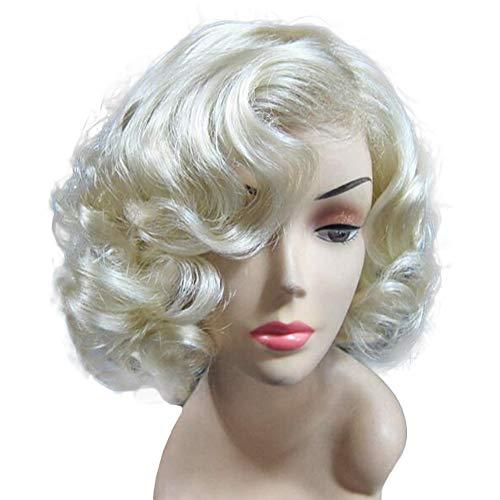 Evere Halloween Dame Perücke Kurze Wellig Haar Zubehör Lockig Cosplay Kostüm Requisiten Helle Blonde Replik Verrücktes Kleid