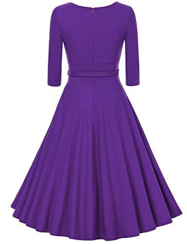 MUXXN Damen Retro 3/4 Arm Rockabilly Cocktailkleider Freizeit Swing Kleid Vintage Ballkleid Violet