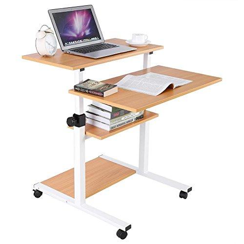 Gototop tavolo da computer portatile regolabile con ruote, scrivania porta pc computer tavolo ufficio con ripiano,3 strati (colore del legno)