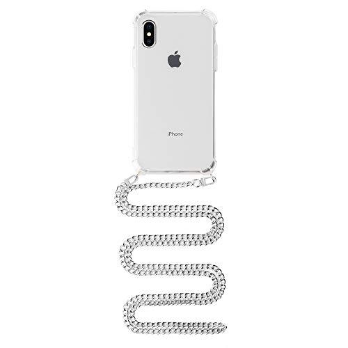 Chaise Dein Chain Case, Hülle kompatibel mit iPhone X/Xs zum Umhängen mit Metallkette, Kette mit Handyhülle, in Gold, Silber & Rosé (Silber)