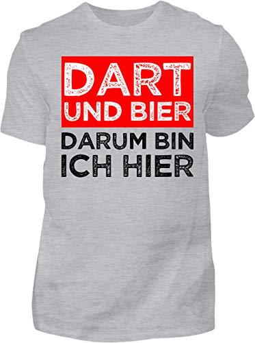 Kreisligahelden T-Shirt Herren Lustig Dart und Bier - Kurzarm Shirt Baumwolle mit Spruch Aufdruck - Hobby Freizeit Fun Dart Darts 180 (S, Grau)