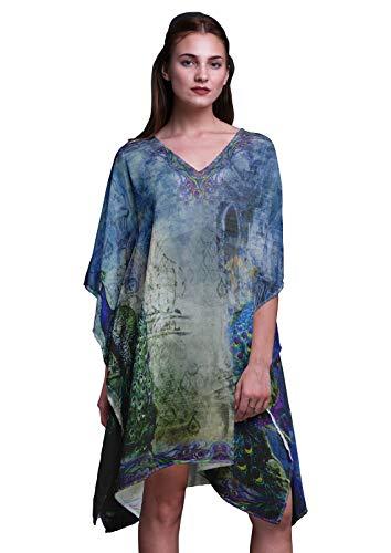 Phagun Blau Pfau mughal Damen Plus Size Kaftan Sommer Wear Beach Coverup Kimono Kaftan-XL-3X Plus Size Kleid Form