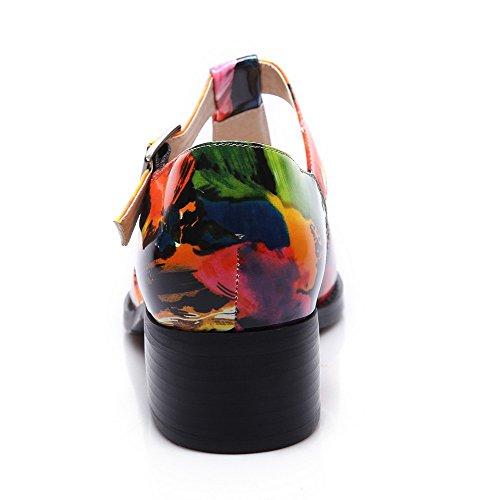 VogueZone009 Femme Rond Boucle Couleurs Mélangées à Talon Bas Chaussures Légeres Multicolore