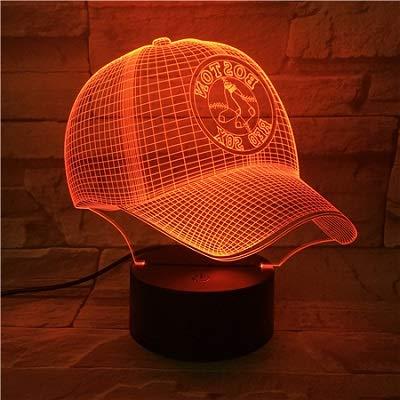 Baseball Hat Boston Red Sox 7 Farbe Optische Täuschung Nachtlicht Berühren Fernbedienung Led-nachtlampe Home Dekorative Lampe Erstaunliche Visuelle Optische Täuschung