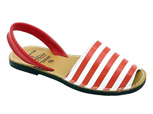Avarca - Made In Spain - Damen Leder Sommer Sandalen - schöne, Bequeme und praktische Echtleder Mädchen Menorca Sommerschuhe Strandschuhe Hausschuhe mit Streifen-Muster 403 rot-Weiss Gr. 36