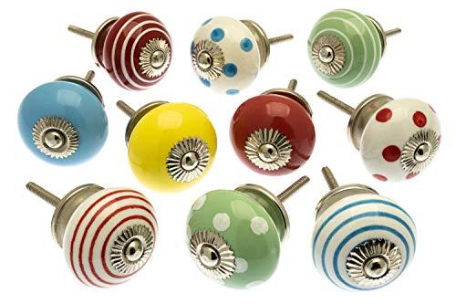 Türknauf-Set aus Keramik, verschiedene Designs, 10 Stück, MANGO-98